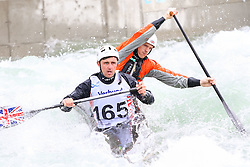 27.06.2015, Verbund Wasserarena, Wien, AUT, ICF, Kanu Wildwasser Weltmeisterschaft 2015, C2 men, im Bild v.l. Colin Cartwright, Alex Edwards (GBR) // during the final run in the men's C2 class of the ICF Wildwater Canoeing Sprint World Championships at the Verbund Wasserarena in Wien, Austria on 2015/06/27. EXPA Pictures © 2014, PhotoCredit: EXPA/ Sebastian Pucher