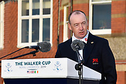 Craig Watson (GB&I) Team Captain gives his losers speech after USA's  victory 15.5 to 10.5 to retain the Walker Cup at the Royal Liverpool Golf Club, Sunday, Sept 8, 2019, in Hoylake, United Kingdom. (Steve Flynn/Image of Sport)