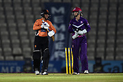 Issy Wong of Southern Vipers and Amy Jones of Loughborough Lightning during the Women's Cricket Super League match between Southern Vipers and Loughborough Lightning at the Ageas Bowl, Southampton, United Kingdom on 28 August 2019.