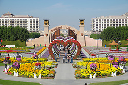 View of landscaped gardens at  Miracle Garden the world's biggest flower garden in Dubai United Arab Emirates
