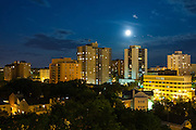 Saskatoon skyline under a summertime full moon. This image makes outstanding wall decor as a metal print.