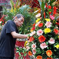 Asia, China, Chongqing. Local flower market scene in the city of Chongqing.