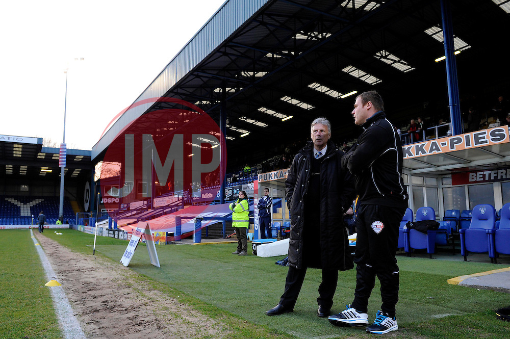 Bristol Rovers Director of Football, John Ward speaks with Bury's Manager David Flitcroft before the game - Photo mandatory by-line: Dougie Allward/JMP - Mobile: 07966 386802 01/04/2014 - SPORT - FOOTBALL - Bury - Gigg Lane - Bury v Bristol Rovers - Sky Bet League Two