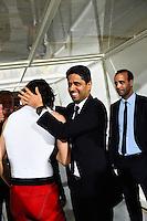 Joie PSG Champion - Edinson CAVANI / Nasser AL KHELAIFI - 16.05.2015 - Montpellier / Paris Saint Germain - 37eme journée de Ligue 1<br />Photo : Alexandre Dimou / Icon Sport