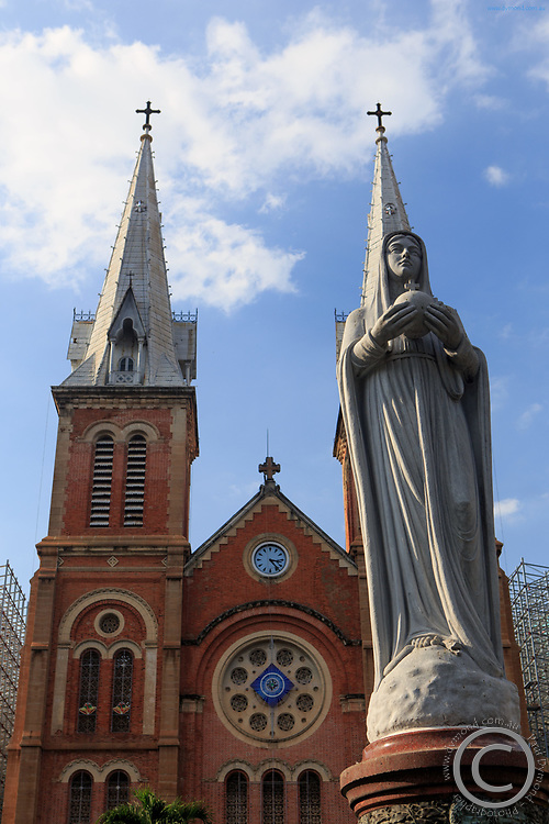 A statue of Mary outside the Notre-Dame Basilica of Saigon, Ho Chi Minh City, Vietnam