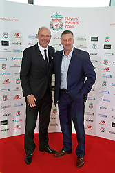 LIVERPOOL, ENGLAND - Thursday, May 12, 2016: Former Liverpool players Gary McAllister and John Aldridge arrive on the red carpet for the Liverpool FC Players' Awards Dinner 2016 at the Liverpool Arena. (Pic by David Rawcliffe/Propaganda)