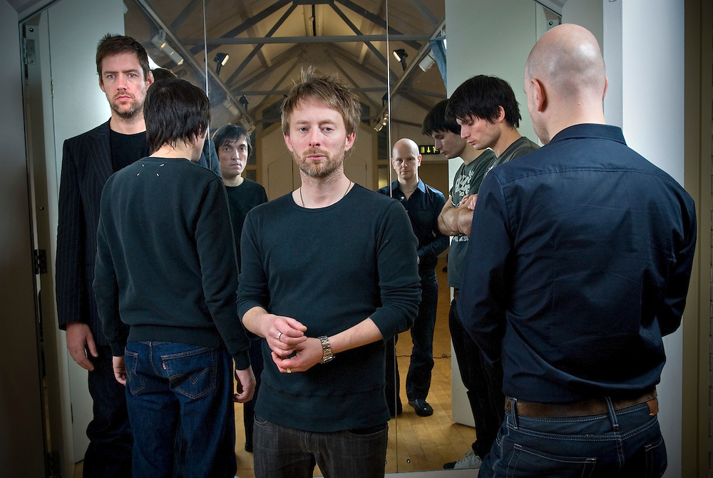 UK. Oxford based band Radiohead photographed in the attic of the Oxford Playhouse theatre.From left to right: Colin Greenwood,  Ed O'Brian, Thom Yorke, Jonny Greenwood and Phil Selway.