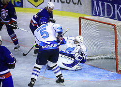 Jaka Avgustincic vs Goalkeeper of Russia Maxim Mikhaylovsky at friendly ice-hockey game Slovenia Oldies vs Gazprom Export (Russia), on October 24, 2008 in Hala Tivoli, Ljubljana, Slovenia. Gazprom Export won 6:3.(Photo by Vid Ponikvar / Sportal Images)