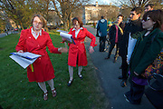 Tour guides demonstrate the invention of breakdancing in Trinity College Dublin, during the Walking Tour of Places of No Historical Interest,  .Festival of Fools, April 1st 2009, marking April Fool's Day, and the 43rd anniversary of the death of Irish author Flann O'Brien
