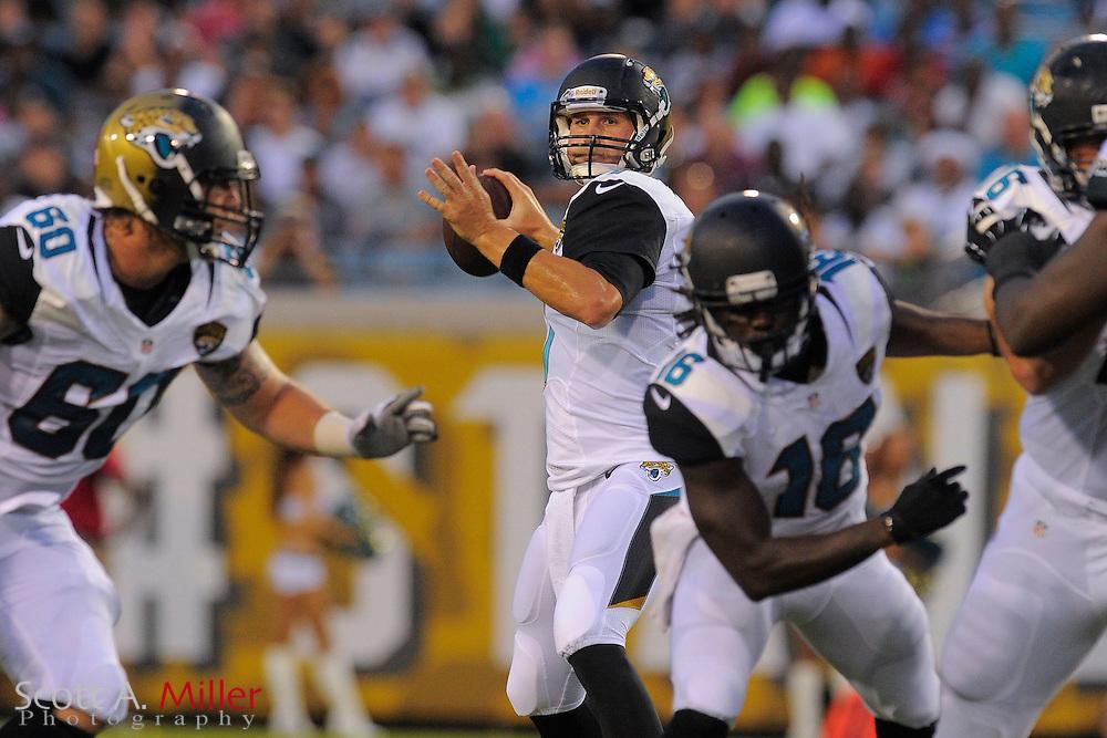 Jacksonville Jaguars quarterback Chad Henne (7) during a preseason NFL game against the Philadelphia Eagles at EverBank Field on Aug. 24, 2013 in Jacksonville, Florida. The Eagles won 31-24.<br /> <br /> &copy;2013 Scott A. Miller