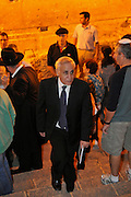 Israel, Jerusalem, Wailing Wall, Jews during Selichot prayers. Moshe Katsav former President of Israel and member of the Knesset. Now is on trial for rape of one female subordinate, as well as the sexual harassment of others.