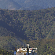 The Wellington to Picton ferry leaving Picton Harbour. Picton, New Zealand.  27th January 2011.Photo Tim Clayton..