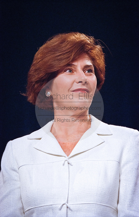 Laura Bush, wife of Texas Gov. George W. Bush during a campaign fundraising event June 22, 1999 in Washington, DC. Bush is the frontrunner for the Republican presidential nomination in the Year 2000.