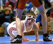 2006.02.02 HILLSBOROWRESTLER SPORTS : Hillsboro sophomore wrestler Dustin Carter eyes his opponent, Wilmington's Ethan Allen during their match at Amelia High School Thursday February 2, 2006. The Enquirer/Jeff Swinger