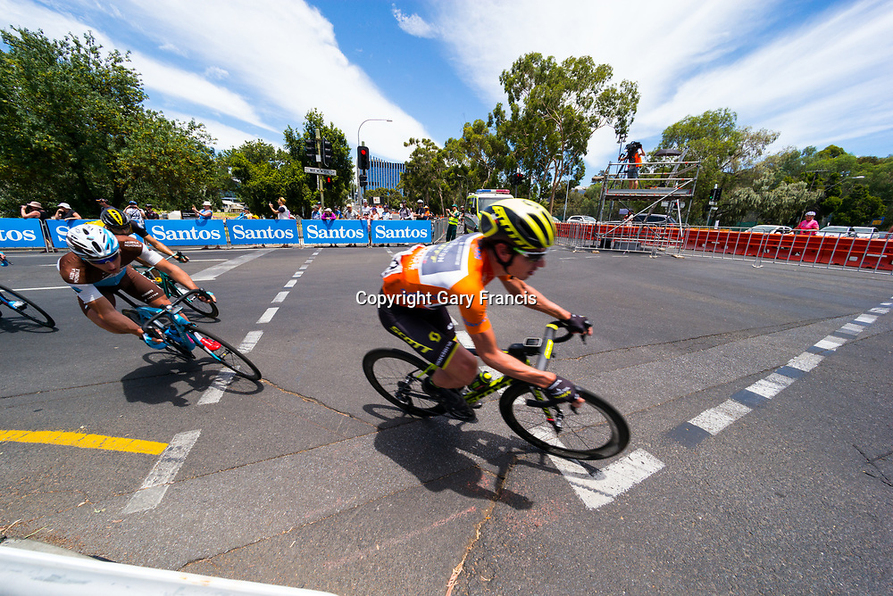 Daryl Impey (C) taking a tight corner at the start of Stage 6, Adelaide City Circuit, of the Tour Down Under, Australia on the 21 of January 2018 ( Credit Image: © Gary Francis / ZUMA WIRE SERVICE )