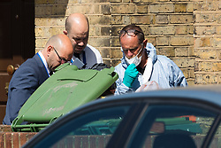 © Licensed to London News Pictures. 30/06/2019. London, UK. Police forensic officers at the scene in Ron Leighton Way in Newham where police were called last night to reports of a stabbing. The victim was pronounced dead at the scene. Photo credit: Vickie Flores/LNP
