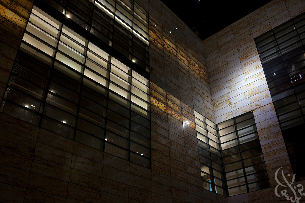 An interior building atrium is illuminated by diffused sunlight on the King Abdullah University of Science and Technology (KAUST) campus.  KAUST is an international, graduate-level research university dedicated to inspiring a new age of scientific achievement in the Kingdom that will also benefit the region and the world. (Photo by Scott Nelson)..