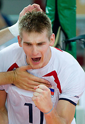 Vid Jakopin of Slovenia reacts during volleyball match between National Teams of Slovenia and Belgium of 2011 CEV Volleyball European League Men - Pool A, on July 9, 2011, in  Arena Ljudski vrt Lukna, Maribor, Slovenia. Slovenia defeated Belgium 3-1. (Photo by Vid Ponikvar / Sportida)