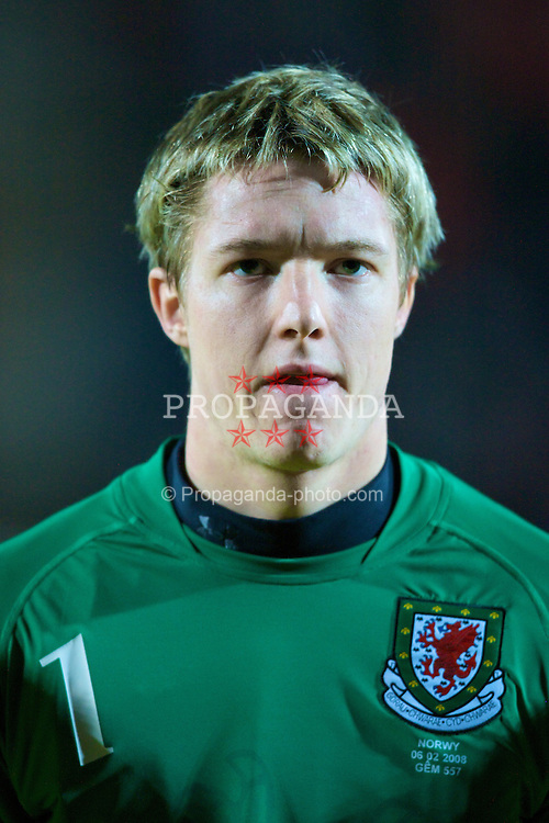 WREXHAM, WALES - Wednesday, February 6, 2008: Wales' goalkeeper Wayne Hennessey before the international friendly match against Norway at the Racecourse Ground. (Photo by David Rawcliffe/Propaganda)