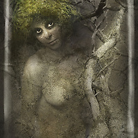A naked young woman entwined in wood