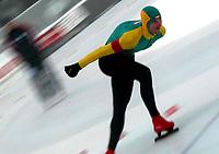 Skøyter, 21. desember 2002. NM enkeltdistanser. Publikum tok bølgen for Reidar Borgersen vant 5000 meter.