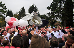 © Licensed to London News Pictures. 26/10/2017. Epsom, UK. White doves being released at the funeral of Tom 'Tomboy' Doherty the nephew of Big Fat Gypsy Weddings star Paddy Doherty, at Epsom Cemetery in Epsom, Surrey. Tom Doherty was 17 when he was killed in a car crash in South Nutfield in Surrey on October 9. He had passed his driving test just days earlier. Photo credit: Ben Cawthra/LNP
