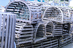 Wooden Lobster Traps Waiting on the Dock