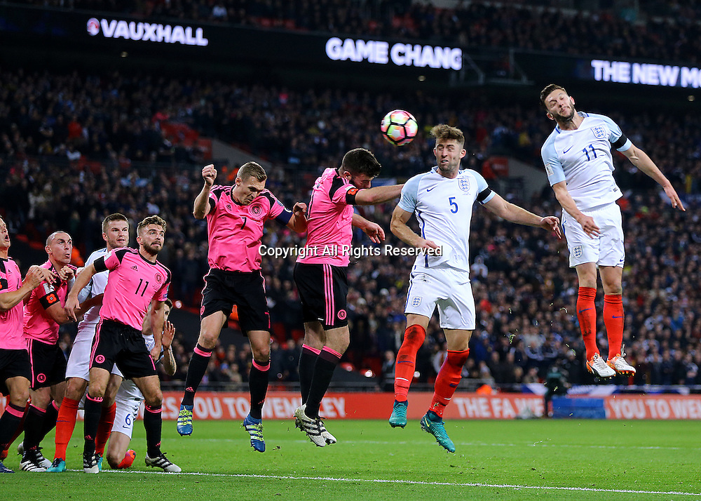 11.11.2016. Wembley Stadium, London, England. World Cup Qualifying Football. England versus Scotland. Gary Cahill of England wins the header from a Danny Rose cross and heads past Scotland Goalkeeper Gordon Greer for 3-0