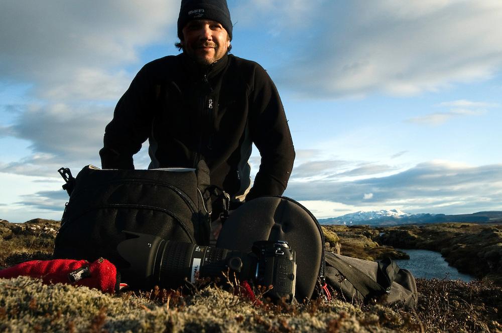Self portrait (Magnus Lundgren), Silfra, Thingvellir lake, Thingvellir National Park, Iceland<br /> Model release by photographer