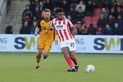 Tom Pope  and Rohan Ince    during the The FA Cup match between Cheltenham Town and Port Vale at Jonny Rocks Stadium, Cheltenham, England on 30 November 2019.
