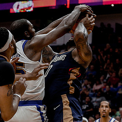 Oct 20, 2017; New Orleans, LA, USA; Golden State Warriors forward Kevin Durant (35) blocks a shot by New Orleans Pelicans forward DeMarcus Cousins (0) during the second half of a game at the Smoothie King Center. The Warriors defeated the Pelicans 128-120.  Mandatory Credit: Derick E. Hingle-USA TODAY Sports