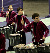 Kings High School (from Kings Mills, Ohio) competes at the Dayton Percussion Regional Finals, in the James Trent Arena, Sunday morning.