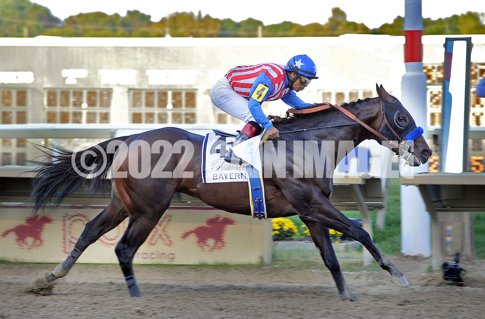 BENSALEM, PA - SEPTEMBER 20: Jockey Martin Garcia, riding Bayern, wins the Pennsylvania Derby September 20, 2014 at Parx Racing in Bensalem Pennsylvania. Bayern set the Parx track record for 1 1/8 miles at 1:46.96. (Photo by William Thomas Cain/Cain Images)