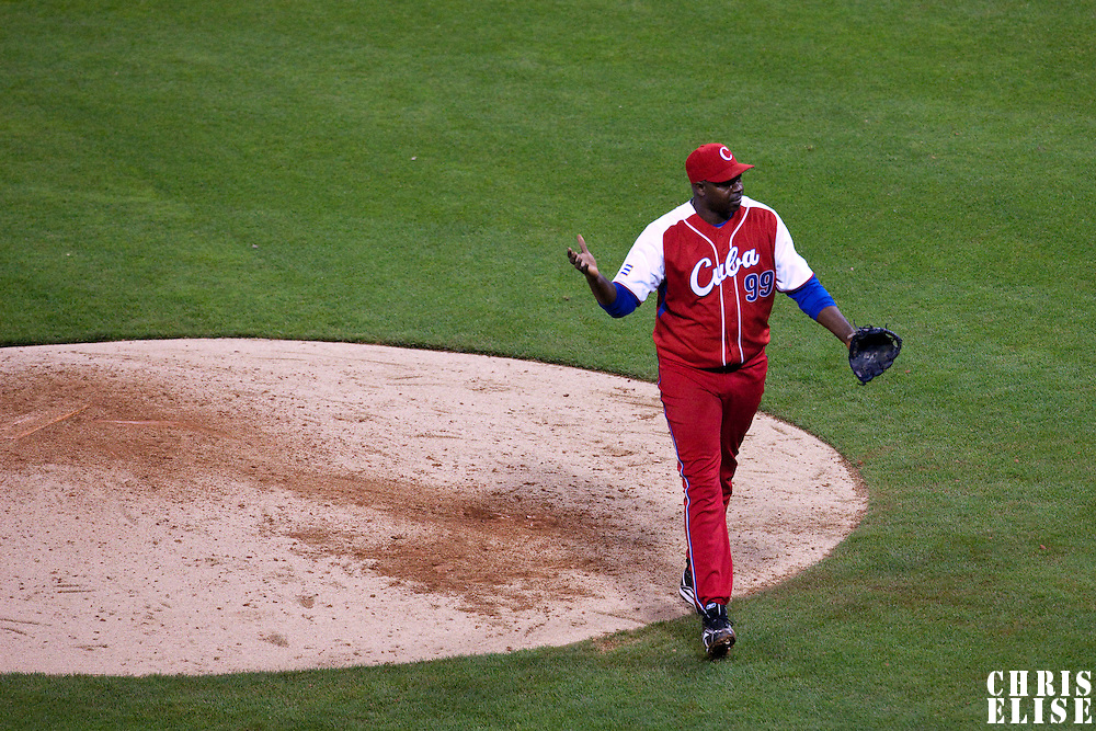 16 March 2009: #99 Pedro Luis Lazo of Cuba reacts as he pitches against Mexico during the 2009 World Baseball Classic Pool 1 game 3 at Petco Park in San Diego, California, USA. Cuba wins 7-4 over Mexico.