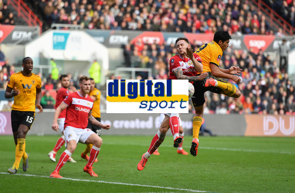 Football - 2018 / 2019 Emirates FA Cup - Fifth Round: Bristol City vs. Wolverhampton Wanderers<br /> <br /> Wolverhampton Wanderers' Raul Jimenez attempts an audacious back flick from a corner, at Ashton Gate.<br /> <br /> COLORSPORT/ASHLEY WESTERN