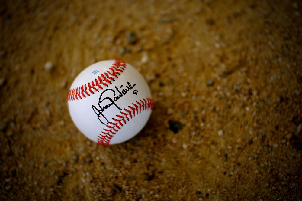 Johan Santana autographed baseballs for young athletes in his hometown of Tovar, Venezuela as part of an annual charity event hosted by the Johan Santana foundation.