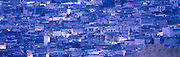 The city of Fez at night in blue light