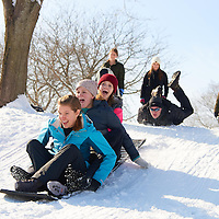 2016 UWL Students Sledding Forest Hills