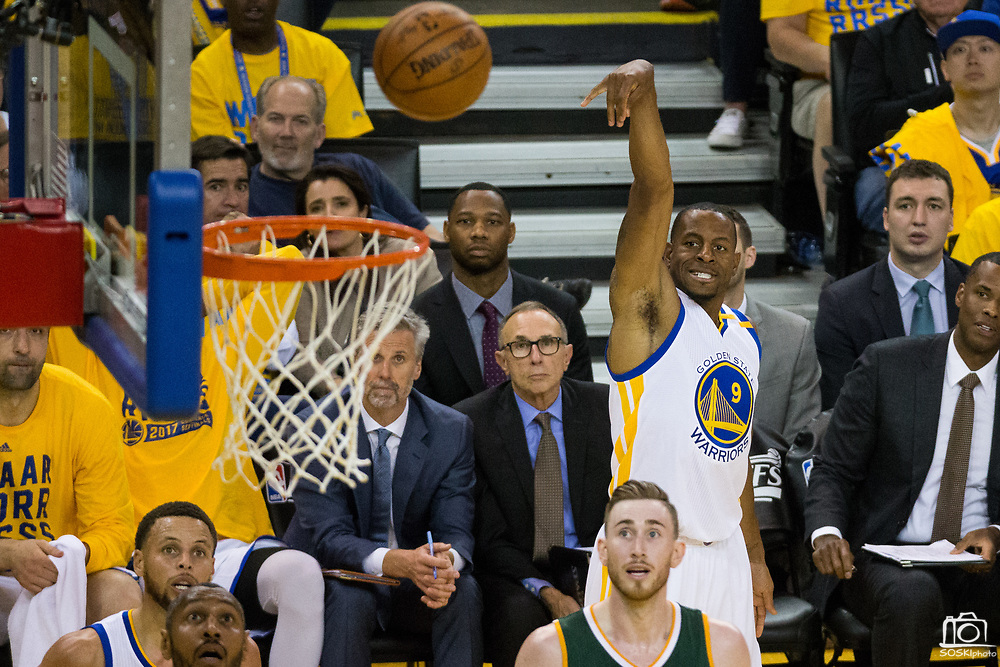 Golden State Warriors forward Andre Iguodala (9) watches his jump shot against the Utah Jazz during Game 1 of the Western Conference Semifinals at Oracle Arena in Oakland, Calif., on May 2, 2017. (Stan Olszewski/Special to S.F. Examiner)