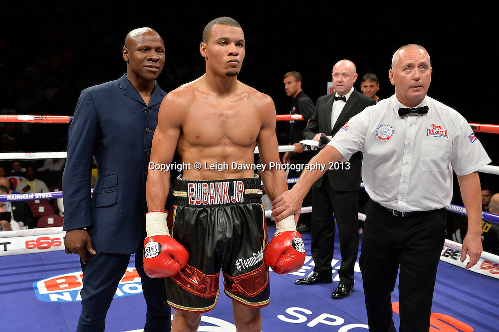 Chris Eubank Jnr pictured with Chris Eubank Snr.  Ivan Jukic defeated in a middleweight contest on 26th July 2014 at the Phones 4U Arena, Manchester. Promoted by Frank Warren. © Credit: Leigh Dawney Photography.