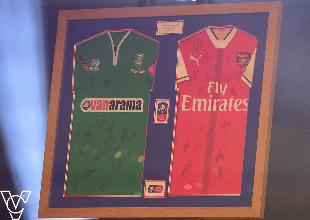 The signed FA Cup shirts from the Arsenal V Lincoln City quarter final, which were sold for &pound;3400<br /> <br /> Lincoln City Football Club's 2016/17 End of Season Awards night - Champions Seasons Awards Dinner - held at the Lincolnshire Showground.<br /> <br /> Picture: Andrew Vaughan for Lincoln City Football Club<br /> Date: May 20, 2017 Champions Seasons Awards Dinner: