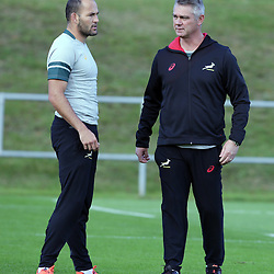 BIRMINGHAM, ENGLAND - SEPTEMBER 21: Fourie du Preez with Heyneke Meyer (Head Coach) of South Africa during the during the South African national rugby team training session at University of Birmingham on September 21, 2015 in Birmingham, England. (Photo by Steve Haag/Gallo Images)