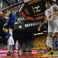 16 February 2013:   Duke Blue Devils forward Mason Plumlee (5) in action against Maryland Terrapins center Alex Len (25) at the Comcast Center in College Park, MD.