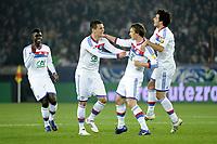 FOOTBALL - FRENCH CUP 2011/2012 - 1/4 FINAL - PARIS SAINT GERMAIN v OLYMPIQUE LYONNAIS - 21/03/2012 - PHOTO JEAN MARIE HERVIO / REGAMEDIA / DPPI -  JOY KIM KALLSTROM (OL) AFTER HIS GOAL