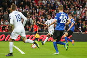 England's Raheem Sterling  runs in to score his teams 2nd  goal during the UEFA European 2016 Qualifier match between England and Estonia at Wembley Stadium, London, England on 9 October 2015. Photo by Shane Healey.