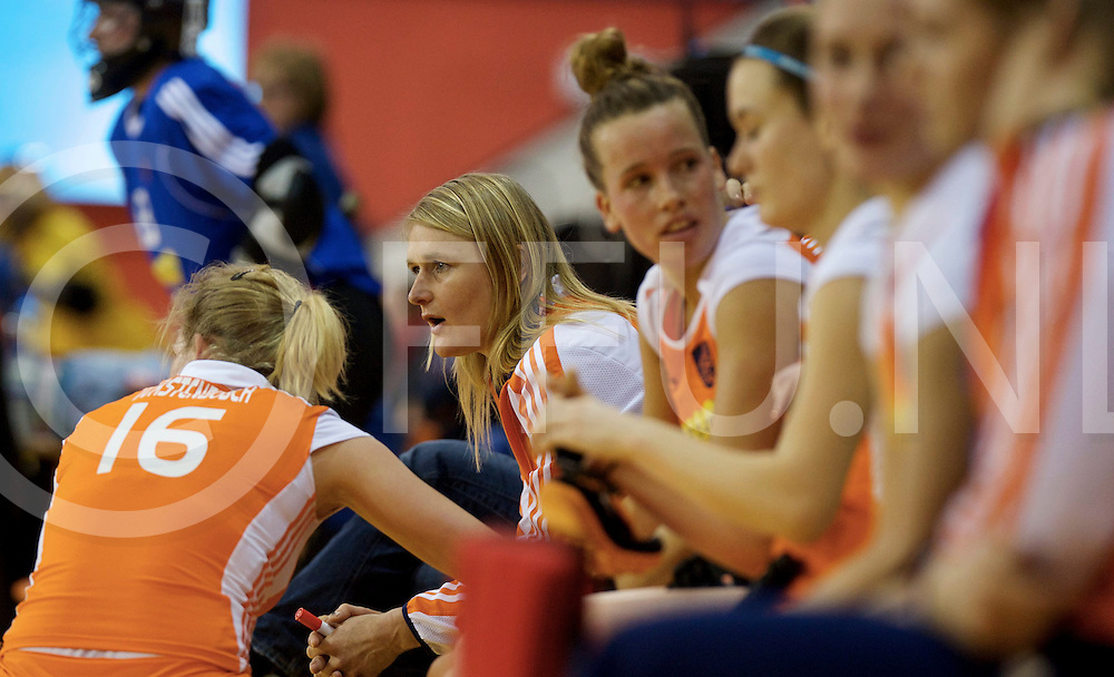 Prague - EuroHockey Indoor Championship (W) 2014<br /> 07 NED v GER (Pool B)<br /> foto: Dutch dug out with coach Marieke Dijkstra at the end of the bench.<br /> FFU PRESS AGENCY COPYRIGHT FRANK UIJLENBROEK