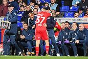 Middlesbrough Midfielder Mo Besic (37) celebrates scoring a goal (1-0)  with Middlesbrough Manager Tony Pulis during the EFL Sky Bet Championship match between Ipswich Town and Middlesbrough at Portman Road, Ipswich, England on 2 October 2018.