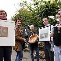 Members of the Clare Crafts Group  who will be showing their pieces in different venues around the county.<br /> From left: Brenda Byrne - Lahinch, Ann Maloney - Tulla , William Edwards - Caher, Tim Maloney - Tulla and Sylvia Nannig - Shannon.<br /> <br /> Photograph by Yvonne Vaughan.