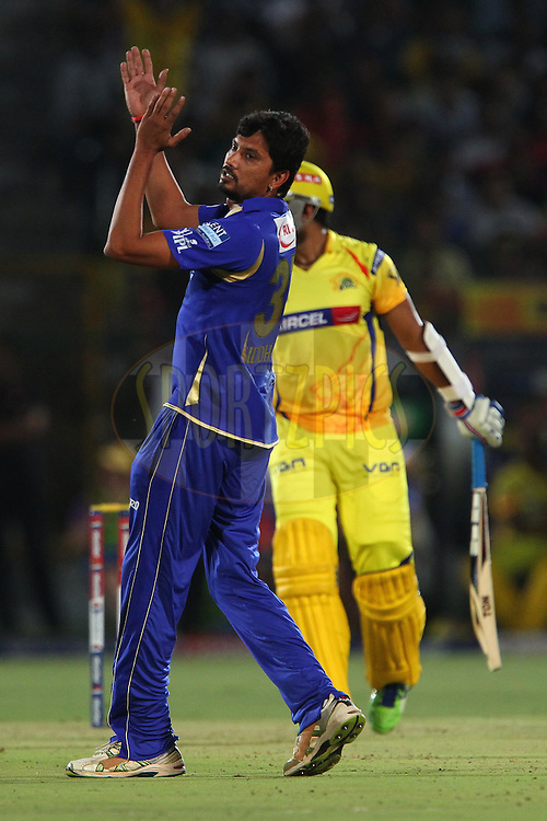 Siddharth Trivedi reacts after a missed opportunity during match 61 of the Pepsi Indian Premier League ( IPL) 2013  between The Rajasthan Royals and the Chennai SUperkings held at the Sawai Mansingh Stadium in Jaipur on the 12th May 2013..Photo by Ron Gaunt-IPL-SPORTZPICS ..Use of this image is subject to the terms and conditions as outlined by the BCCI. These terms can be found by following this link:..http://www.sportzpics.co.za/image/I0000SoRagM2cIEc