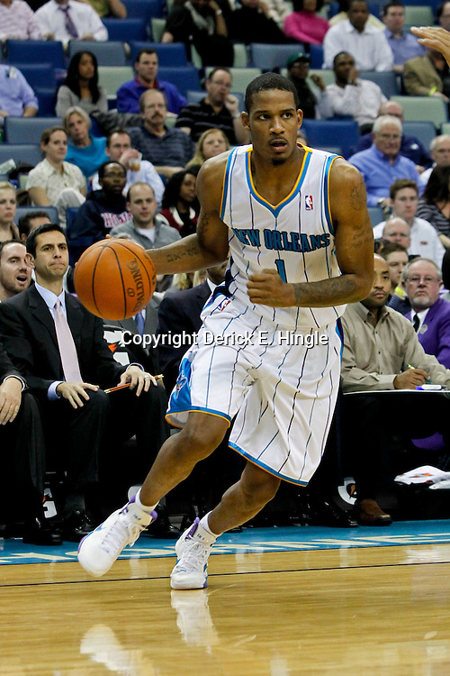 February 2, 2012; New Orleans, LA, USA; New Orleans Hornets small forward Trevor Ariza (1) against the Phoenix Suns during a game at the New Orleans Arena. The Suns defeated the Hornets 120-103.  Mandatory Credit: Derick E. Hingle-US PRESSWIRE